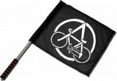 """Zum/zur  Fahne / Flagge (ca 40x35cm) """"Anarchocyclist"""" für 11,00 € gehen."""