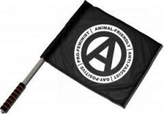 """Zum/zur  Fahne / Flagge (ca 40x35cm) """"Animal-Friendly - Anti-Fascist - Gay Positive - Pro Feminist"""" für 11,00 € gehen."""