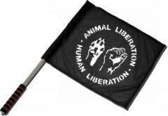 """Zum/zur  Fahne / Flagge (ca. 40x35cm) """"Animal Liberation - Human Liberation"""" für 11,00 € gehen."""