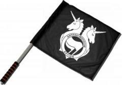 """Zum/zur  Fahne / Flagge (ca. 40x35cm) """"Antifa Einhorn Brigade"""" für 11,00 € gehen."""
