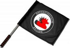 """Zum/zur  Fahne / Flagge (ca. 40x35cm) """"Antifaschistische Aktion (Enten)"""" für 11,00 € gehen."""