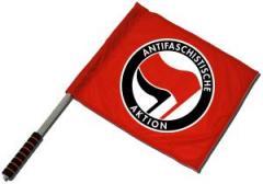 """Zum/zur  Fahne / Flagge (ca. 40x35cm) """"Antifaschistische Aktion (rot/schwarz)"""" für 11,00 € gehen."""