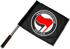 """Zum/zur  Fahne / Flagge (ca. 40x35cm) """"Antifaschistische Aktion (schwarz, rot/schwarz)"""" für 11,00 € gehen."""