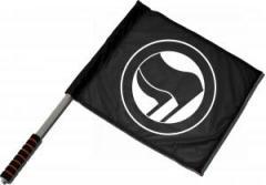 """Zum/zur  Fahne / Flagge (ca 40x35cm) """"Antifaschistische Aktion (schwarz/schwarz) ohne Schrift"""" für 11,00 € gehen."""