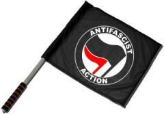 """Zum/zur  Fahne / Flagge (ca. 40x35cm) """"Antifascist Action (schwarz/rot)"""" für 11,00 € gehen."""
