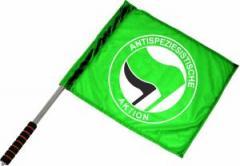 """Zum/zur  Fahne / Flagge (ca. 40x35cm) """"Antispeziesistische Aktion (grün, grün/schwarz)"""" für 11,00 € gehen."""