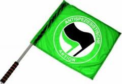 """Zum/zur  Fahne / Flagge (ca. 40x35cm) """"Antispeziesistische Aktion (grün, schwarz/grün)"""" für 11,00 € gehen."""