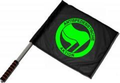 """Zum/zur  Fahne / Flagge (ca 40x35cm) """"Antispeziesistische Aktion (grün/grün)"""" für 11,00 € gehen."""