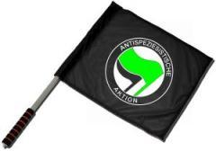 """Zum/zur  Fahne / Flagge (ca. 40x35cm) """"Antispeziesistische Aktion (grün/schwarz)"""" für 11,00 € gehen."""