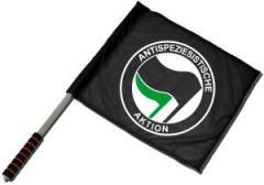 """Zum/zur  Fahne / Flagge (ca. 40x35cm) """"Antispeziesistische Aktion (schwarz, schwarz/grün)"""" für 11,00 € gehen."""