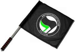 """Zum/zur  Fahne / Flagge (ca. 40x35cm) """"Antispeziesistische Aktion (schwarz/grün)"""" für 11,00 € gehen."""