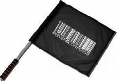 """Zum/zur  Fahne / Flagge (ca 40x35cm) """"Barcode - Never conform"""" für 11,00 € gehen."""