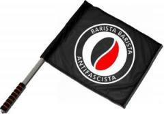 """Zum/zur  Fahne / Flagge (ca. 40x35cm) """"Barista Barista Antifascista (Bohne)"""" für 11,00 € gehen."""