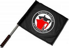 """Zum/zur  Fahne / Flagge (ca 40x35cm) """"Barista Barista Antifascista (Moka)"""" für 11,00 € gehen."""
