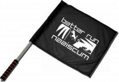 """Zum/zur  Fahne / Flagge (ca. 40x35cm) """"better run naziscum"""" für 10,72 € gehen."""