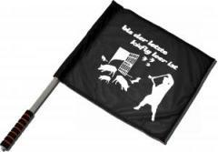 """Zum/zur  Fahne / Flagge (ca. 40x35cm) """"Bis der letzte Käfig leer ist"""" für 10,72 € gehen."""
