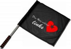 """Zum/zur  Fahne / Flagge (ca 40x35cm) """"Das Herz schlägt links"""" für 11,00 € gehen."""