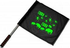 """Zum/zur  Fahne / Flagge (ca 40x35cm) """"Die Spinnen Die Bullen (grün)"""" für 11,00 € gehen."""