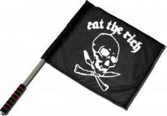 """Zum/zur  Fahne / Flagge (ca 40x35cm) """"Eat the rich (Totenkopf)"""" für 11,00 € gehen."""