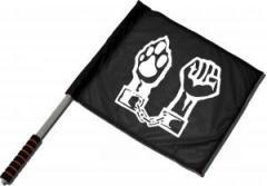"""Zum/zur  Fahne / Flagge (ca. 40x35cm) """"Faust und Pfote"""" für 11,00 € gehen."""