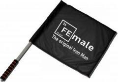 """Zum/zur  Fahne / Flagge (ca. 40x35cm) """"Female - weiß"""" für 11,00 € gehen."""