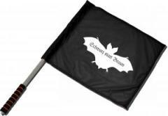 """Zum/zur  Fahne / Flagge (ca. 40x35cm) """"Fledermaus - schwarz statt braun"""" für 11,00 € gehen."""