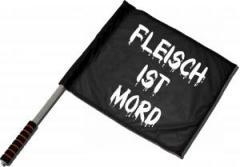 """Zum/zur  Fahne / Flagge (ca. 40x35cm) """"Fleisch ist Mord"""" für 11,00 € gehen."""