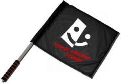 """Zum/zur  Fahne / Flagge (ca. 40x35cm) """"Fremde brauchen Freunde"""" für 11,00 € gehen."""