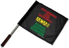 """Zum/zur  Fahne / Flagge (ca. 40x35cm) """"Fussballfans sind keine Verbrecher - ACAB - Gegen Polizeigewalt"""" für 14,00 € gehen."""