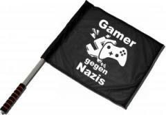 """Zum/zur  Fahne / Flagge (ca 40x35cm) """"Gamer gegen Nazis"""" für 11,00 € gehen."""