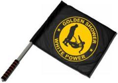 """Zum/zur  Fahne / Flagge (ca. 40x35cm) """"Golden Shower white power"""" für 11,00 € gehen."""