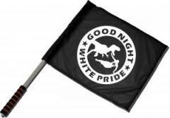 """Zum/zur  Fahne / Flagge (ca. 40x35cm) """"Good night white pride - Dinosaurier"""" für 11,00 € gehen."""