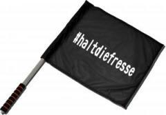 """Zum/zur  Fahne / Flagge (ca. 40x35cm) """"#haltdiefresse"""" für 10,72 € gehen."""
