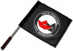 """Zum/zur  Fahne / Flagge (ca. 40x35cm) """"Hate Fascism - Love Seebrücke"""" für 11,00 € gehen."""