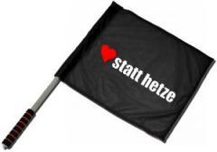 """Zum/zur  Fahne / Flagge (ca. 40x35cm) """"herz statt hetze"""" für 11,00 € gehen."""