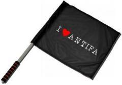 """Zum/zur  Fahne / Flagge (ca. 40x35cm) """"I love Antifa"""" für 11,00 € gehen."""