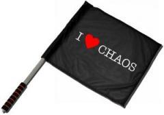 "Zum/zur  Fahne / Flagge (ca. 40x35cm) ""I love Chaos"" für 11,00 € gehen."
