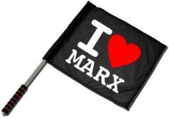 """Zum/zur  Fahne / Flagge (ca. 40x35cm) """"I love Marx"""" für 11,00 € gehen."""