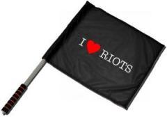 """Zum/zur  Fahne / Flagge (ca. 40x35cm) """"I love Riots"""" für 11,00 € gehen."""