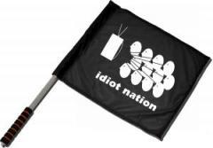 """Zum/zur  Fahne / Flagge (ca. 40x35cm) """"Idiot Nation"""" für 11,00 € gehen."""