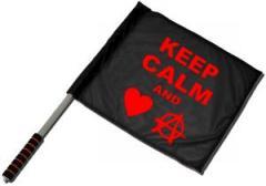 """Zum/zur  Fahne / Flagge (ca. 40x35cm) """"Keep calm and love anarchy"""" für 11,00 € gehen."""