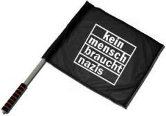 """Zum/zur  Fahne / Flagge (ca. 40x35cm) """"kein mensch braucht nazis"""" für 11,00 € gehen."""