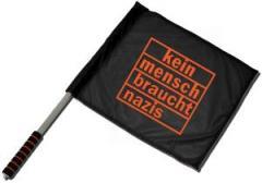 """Zum/zur  Fahne / Flagge (ca. 40x35cm) """"kein mensch braucht nazis (orange)"""" für 11,00 € gehen."""