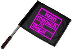 """Zum/zur  Fahne / Flagge (ca. 40x35cm) """"kein mensch ist illegal (schwarz)"""" für 11,00 € gehen."""