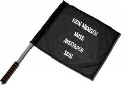 """Zum/zur  Fahne / Flagge (ca 40x35cm) """"Kein Mensch muss Arschloch sein"""" für 11,00 € gehen."""