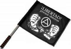 "Zum/zur  Fahne / Flagge (ca. 40x35cm) ""Libertad presos obreros!"" für 11,00 € gehen."