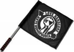 """Zum/zur  Fahne / Flagge (ca 40x35cm) """"Love Hardcore - Hate Homophobia"""" für 11,00 € gehen."""