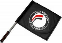 """Zum/zur  Fahne / Flagge (ca 40x35cm) """"Love Hockey Hate Fascism"""" für 11,00 € gehen."""