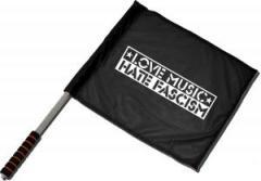 """Zum/zur  Fahne / Flagge (ca. 40x35cm) """"Love Music Hate Fascism"""" für 11,00 € gehen."""
