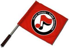 """Zum/zur  Fahne / Flagge (ca. 40x35cm) """"love music - hate fascism (Noten)"""" für 11,00 € gehen."""
